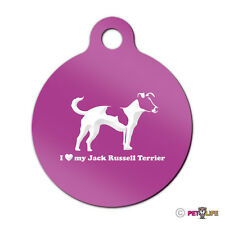 I Love My Jack Russel Terrier Engraved Keychain Round Tag profile jrt parson v2