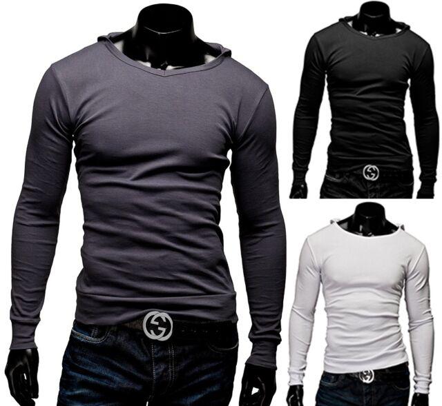 Herren Longsleeve Langarmshirt Sweatshirt T-Shirt Kapuze V-ausschnitt MERISH 07