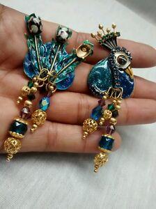 e4cbdf77a0b29 Pretty vtg. Lunch at the Ritz blue peacock clip earrings missing 1 ...