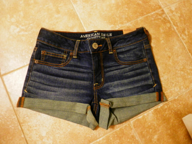NWT American Eagle  Low Rise Denim Rolled Shortie Shorts Size 4,6,8,10,12