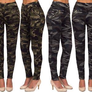 Camuflaje Militar Para Mujer De Oro Cintura Alta Pantalones Leggings Casual Bolsillos Con Cremallera Ebay