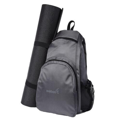Yoga Mat Backpack Sport Bag Exercise Fitness Travel Gym Hiking Biking - Gray