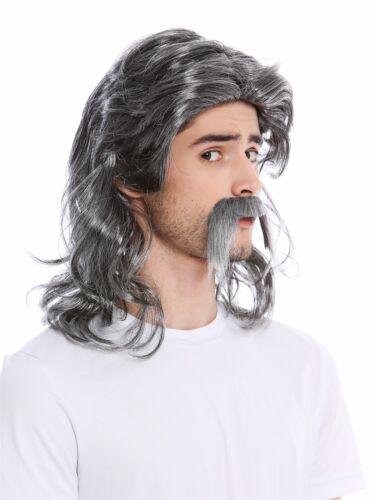 Perruque Barbe Homme Longue Gaule Germanique Barde Chav Prolet Nuque Vieux Gris
