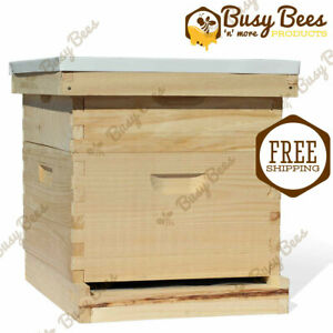 Complete-Langstroth-Bee-Hive-10-Frame-1-Deep-Box-1-Medium-Box-Free-Shipping