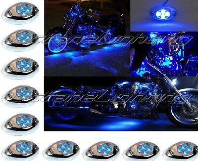 10Pc Blue LED Chrome Modules Motorcycle Chopper Frame Neon Glow Lights Pod Kit