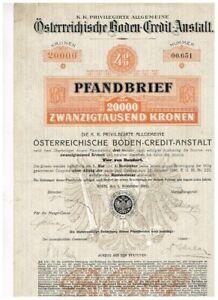 Öst. Boden-Credit-Anstalt, Wien 1910, 20.000 Kronen, gelocht, VF