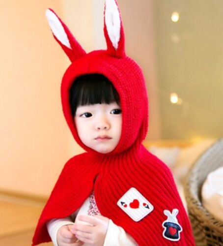Sweet baby Girls Boys neck shoulder warmer hat scarf bunny soft snug 0-3 years