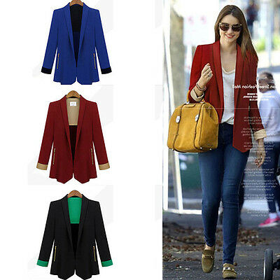 Fashion Lady Slim Long Sleeve Casual Business Blazer Suit Jacket Coat Outwear