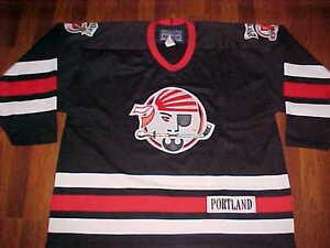 Bauer-AHL-1990-91-2005-06-Portland-Pirates-Black-Red-White-Men-Hockey-Jersey-XL