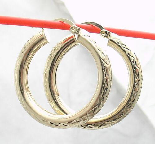"4mm X 29mm 1 1//8/"" Full Diamond Cut Round Hoop Earrings REAL 10K Yellow Gold"