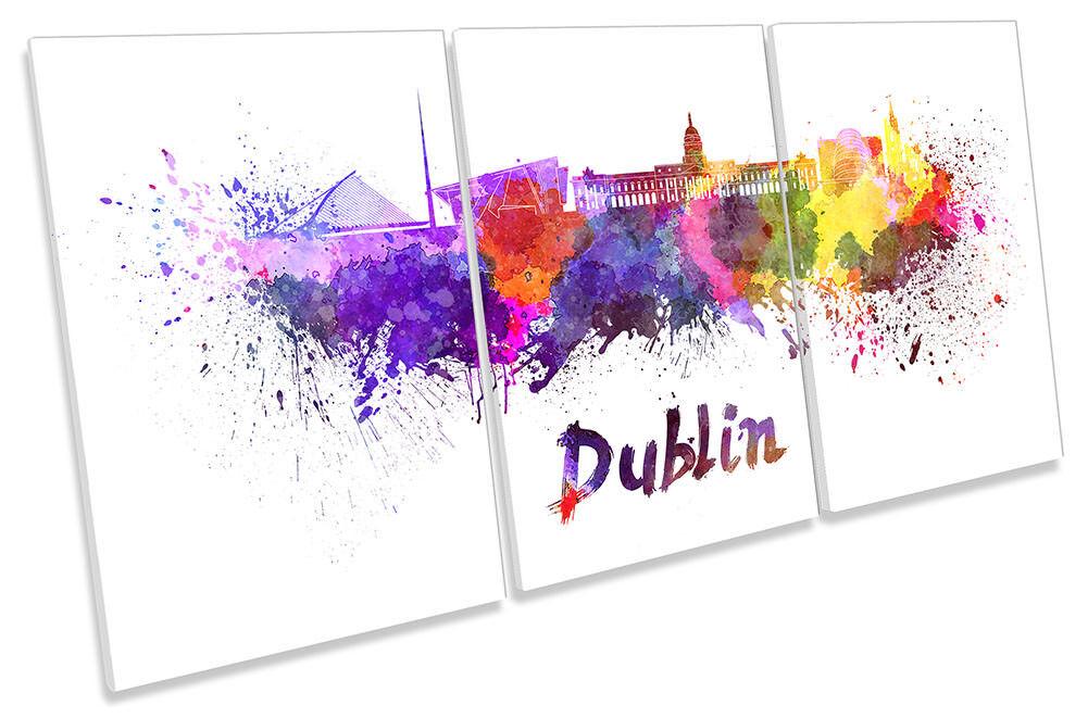 Dublin ad acquerello incorniciato tela Skyline Stampa Treble Wall Art