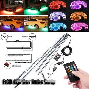 4x-LED-RGB-Neon-Strip-Light-Under-Car-Tube-Underglow-Underbody-with-IR-Control