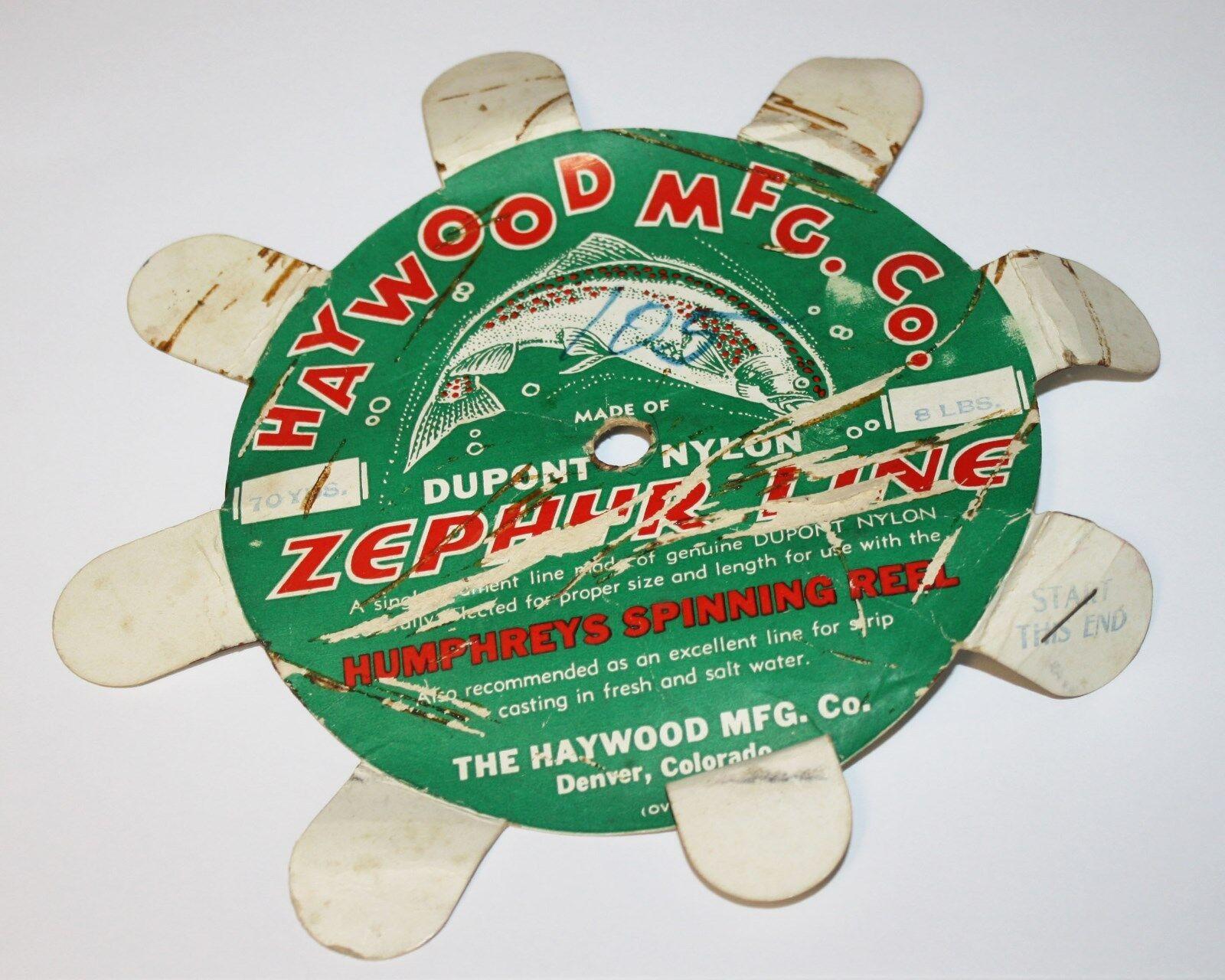 Vintage Haywood Zephyr Nylon  Fishing Line For Humphreys Reel RARE Adgreenising  wholesale store