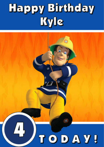 Fireman Sam bleu personnalisé de carte d/'anniversaire-Ajouter Votre Propre Nom Et Âge