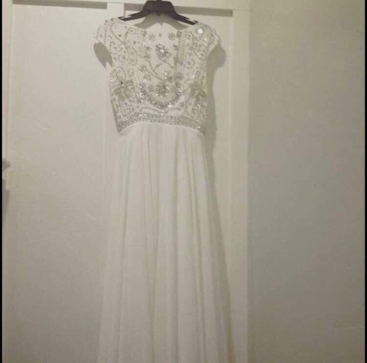 Weiß Formal Größe Medium Ladies Weiß Wedding Bridesmaid Ball Gown Dress Sequins