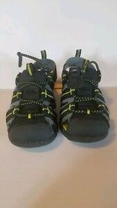 Kids-Eddie-Bauer-Tommy-black-Grey-green-Leather-Bump-Toe-Shoes-Sandals-size-8
