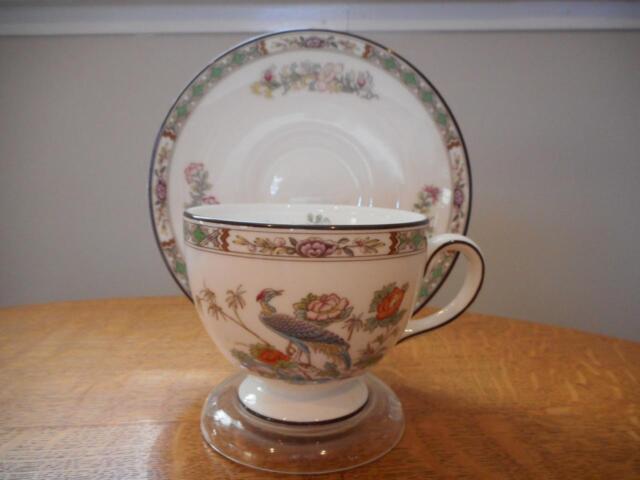 Wedgwood Kutani Crane bone china Leigh shape cup and saucer W mark