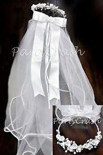 Silk Flower Rhinestone Flower Girl First Communion White Tulle Veil