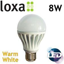 Loxa 8W LED E27 Light Bulb Edison Screw Lamp Warm White Bright 600lm 50000h