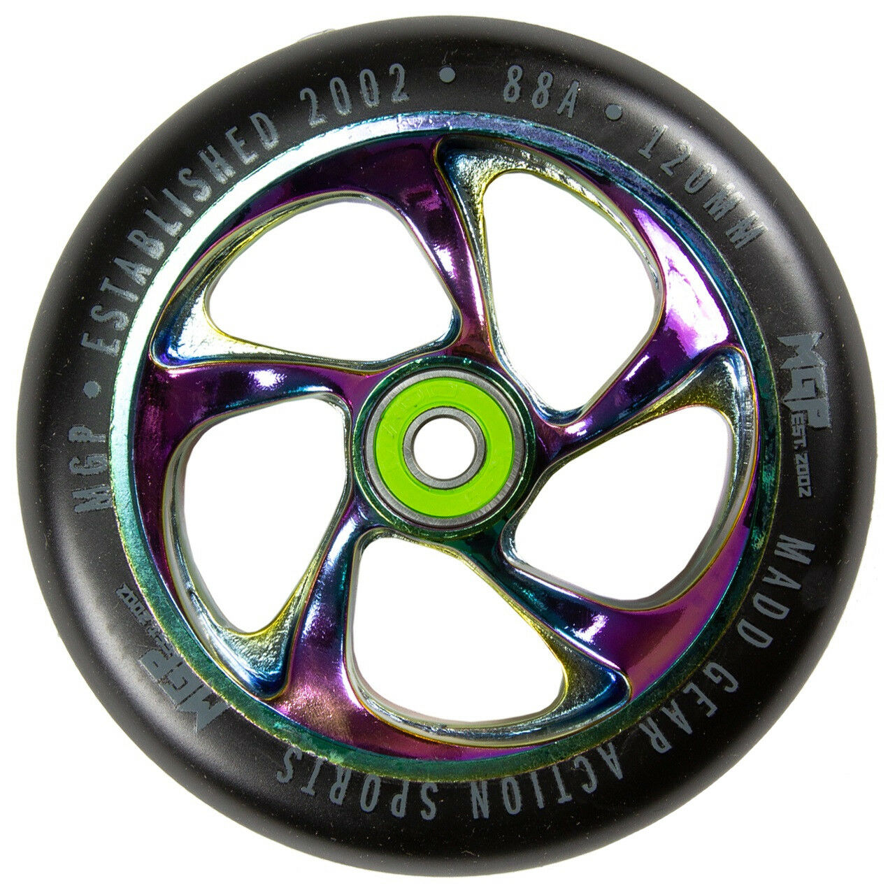 Madd MFX Cartel 120mm Alloy Core Scooter Wheels (Pair) Neochrome