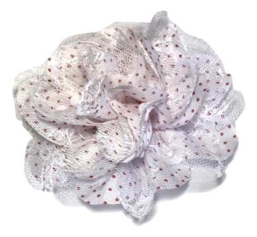 """White w// red polka dot print 3.75/"""" lace chiffon flower"""