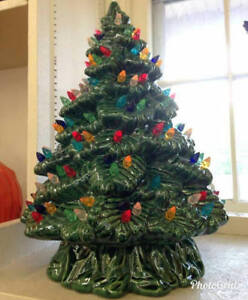 Details About Vintage Style Ceramic Christmas Tree Large Sierra With Lights Base And Bulb