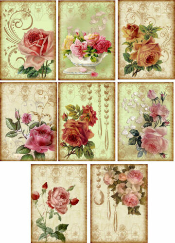 Crafts Embellishment Olde Worlde Roses Glossy Finish Card Toppers