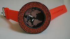 TECHNO PAVE ORANGE SILICONE BAND HIP HOP BLING 5 ROW  STONE  FASHION MAP WATCH