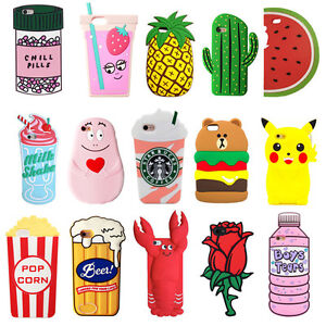 huge discount 566be 42e43 Details about New Cute Fruit Animals Cartoon Soft Silicone 3D Case Cover  Back Skin For iPhone