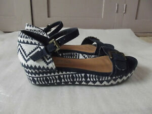 dd02a345f0 NEXT Navy Blue Aztec Print Canvas Wedges with Suede Uppers Strappy ...