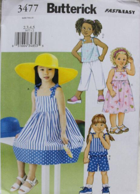 Butterick UNCUT Children's Dress, Top, Short & Pants Pattern Size 2-3-4-5