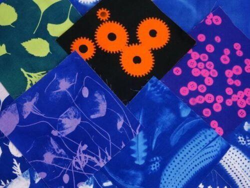 Sunprinting//Blueprint pre-treated COLOURED 100/% cotton fabric 5 15x15cm sheets