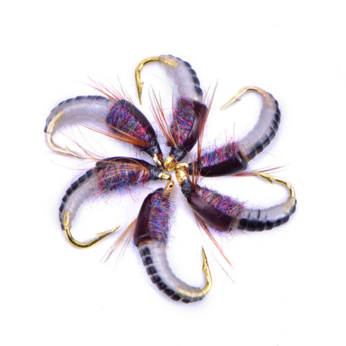 Details about  /6Pcs 12# Realistic Nymph Scud Fly For Trout Fishing Artificial Bait Insect ha