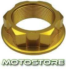 GOLD ALLOY CNC STEERING STEM YOKE NUT FITS KAWASAKI ZX9R NINJA 2000-2003