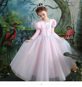 Childrens Kids Girls Elegant Cute Princess Puffy Sleeves Dress Ball Gown Costume Ebay