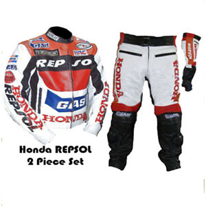 HONDA-GAS-REPSOL-RED-MOTORBIKE-MOTORCYCLE-COWHIDE-LEATHER-ARMOURED-2-PIECE-SUIT