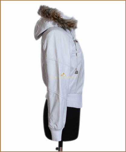 Ladies Casual Style Real Lambskin Leather Jacket Matilda White Fur Hooded 1992