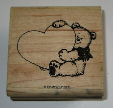 Teddy Bear Heart Rubber Stamp Bow Love Retired Stampin' Up! Teddies Wood Mounted