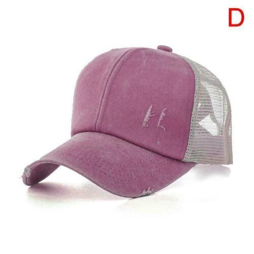 Fashion Sunhat Ripped Mesh Ponytail Cross Baseball Cap Adjustable Hats Hats C0O4