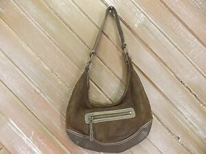 Eddie-Bauer-Purse-Genuine-Cow-Leather-Suede-Hand-Bag-Hobo