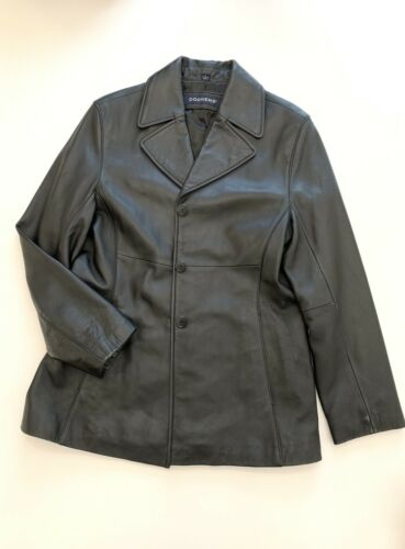 Soft Button Læder Jakke Dockers Up Black Large Women's Front Lamb HtOxwUqq