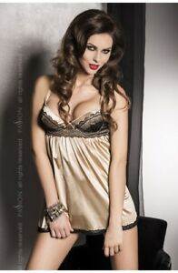 Passion-Lingerie-Gold-Babydoll-Sleepwear-Chemise-amp-Thong-Set-Size-8-10-or-12-14