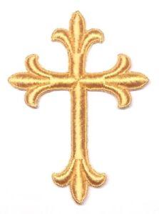 Vintage-Liturgico-Cruz-Bordado-para-Coser-Dorado-T-7-6cm-x-10-2cm-Emblema-Parche