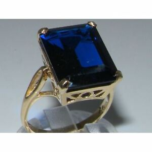 Luxury Solid Sterling Silver Large 16x12mm Octagon cut Synthetic Sapphire Ring Oe52a