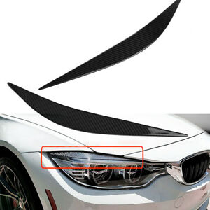 Carbon-Fiber-Headlight-Eyebrows-Eye-Lid-Cover-For-12-17-BMW-F32-F33-F36-4-Series
