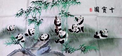Handwoven Silk Chinese Embroidery - 10 Pandas (106 cm x 46 cm) #4
