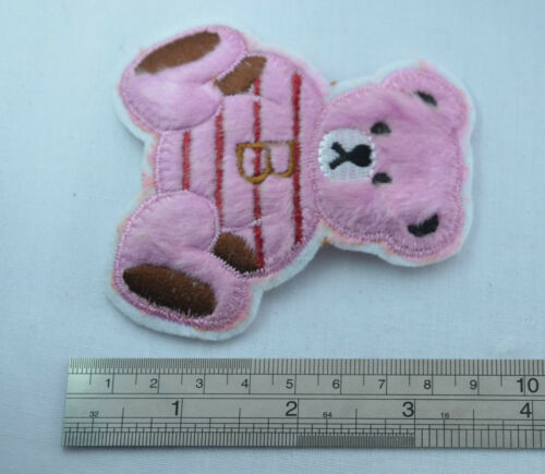 PINK FLUFFY TEDDY BEAR 8cm Embroidered Iron Sew On Cloth Patch Badge APPLIQUE