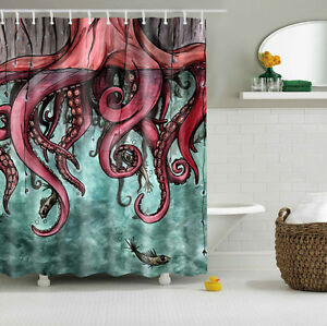 Image Is Loading Octopus Tako Abstract Art Custom Shower Curtain Polyester