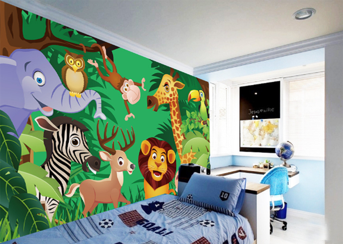 3D Cartoon Dschungeltiere56 Tapete Tapeten Mauer Foto Familie Tapete Wandgemälde