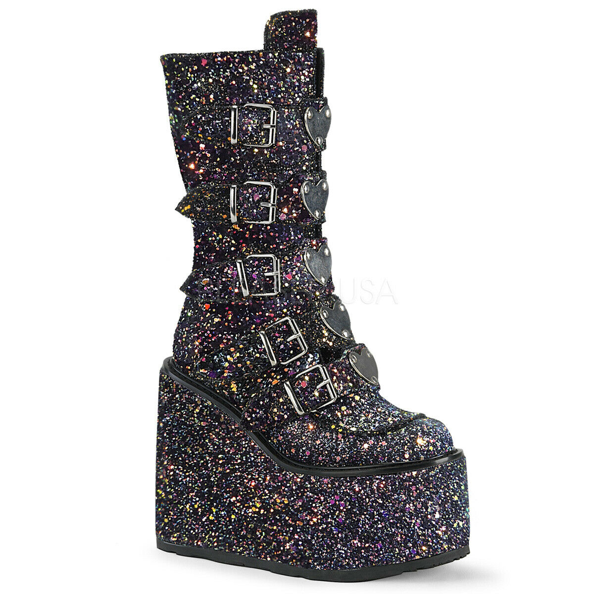 Demonia SWING-230G Women's Black Multi Glitter 5-Buckle Platform Mid-Calf Boots